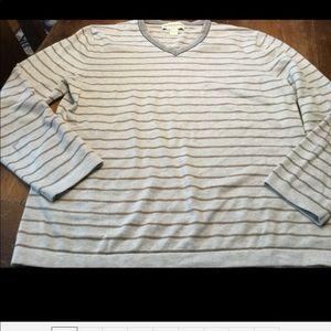 Banana Republic Mens Sz L Gray/Tan Sweater Striped